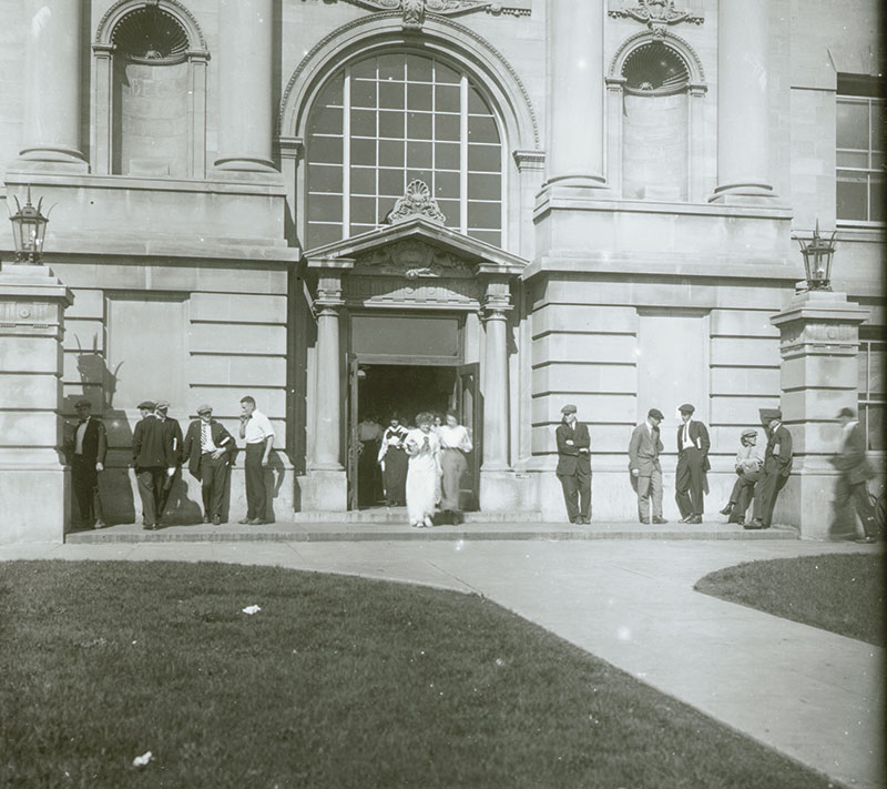 students exiting Marston Hall