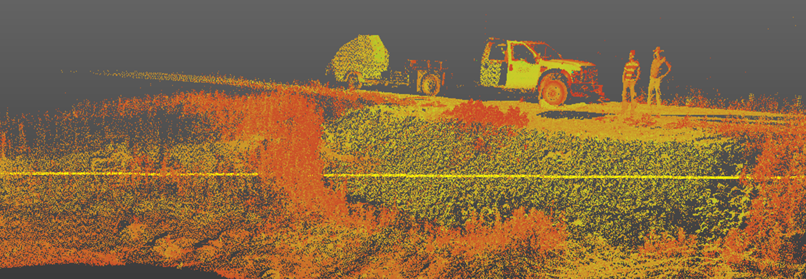 Photo image of a geotech scan in orange and yellow tones