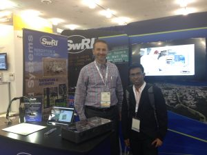 Pranamesh Chakraborty (right) at the ITS America 2016 Conference with sponsor Southwest Research Institute's Josh Johnson