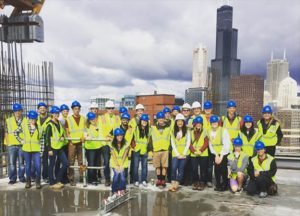 ISU ASCE Student Chapter members at a Walsh Group Construction Site tour (Photo courtesy The Walsh Group)