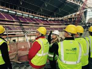 Kruger (middle in white hard hat) gives tour of U.S. Bank Stadium to ISU CCEE faculty, staff (Photo by Beth Hartmann)
