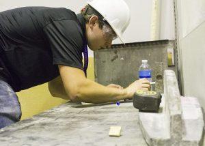 Levandowski measures ISU CCEE team beam prior to testing (Photo by Kate Tindall)