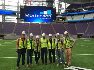 Kruger (third from left) inside U.S. Bank Stadium with fellow ISU CCEE alums and interns working for Mortenson Construction (Photo courtesy Mortenson Construction)