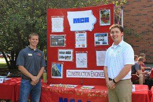 ISU MCA members Joe Kern (left) and Pete Christiansen promote MCA at CCEE Fall Picnic (Photo by Chris Neary)
