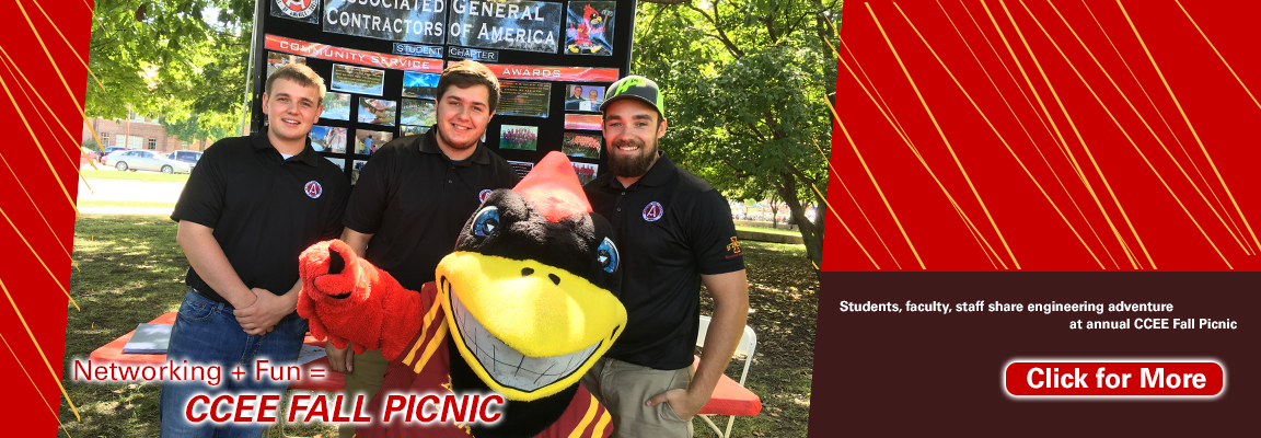 Associated General Contractor representatives and ISU mascot Cy pose during 2016 CCEE Fall Picnic