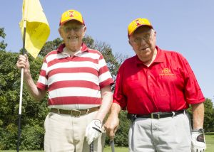 Jack Cleasby (left) and Wallace Sanders on the golf course (Photo by Kate Tindall)