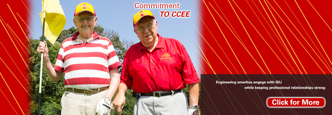 Iowa State Department of Civil, Construction and Environmental Engineering emeritus faculty Jack Cleasby (left) and Wallace Sanders (right) pose during a round of golf