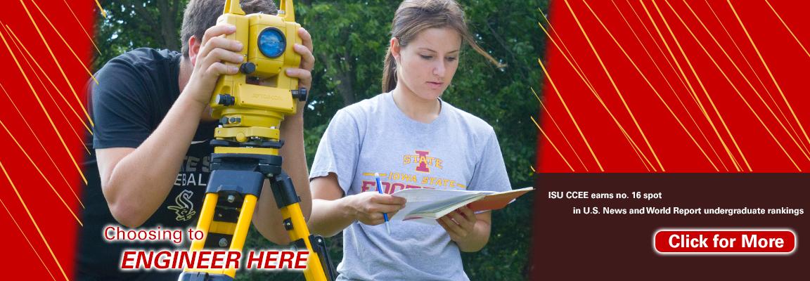 CE111 students surveying at Iowa State University